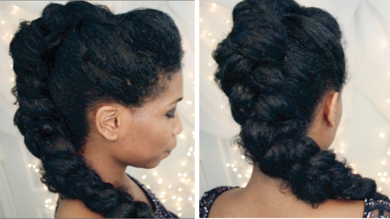 Braided Updo Styles For Natural Hair: Selena Gomez Braided Mohawk On Natural Hair