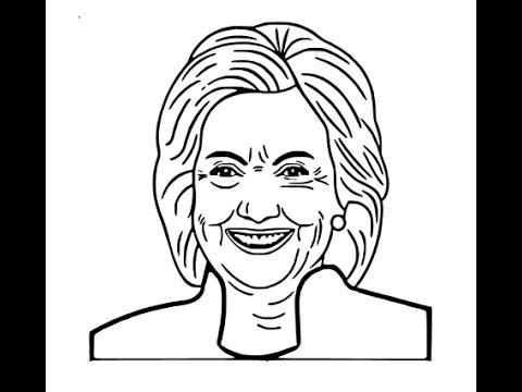 How to draw Hillary Clinton face sketch drawing step by step