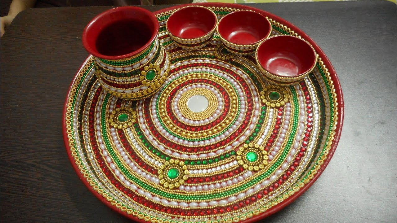 Decorative pooja thali 2 youtube for Aarti thali decoration designs