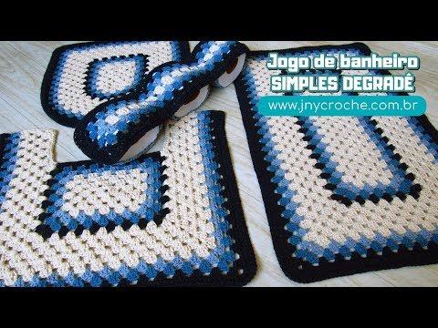 JOGO DE BANHEIRO SIMPLES DEGRADÊ   TAPETE DO VASO - JNY Crochê