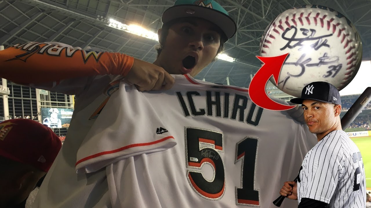 DIE HARD MARLINS FAN MEETS GIANCARLO STANTON AND GETS AN ICHIRO SIGNED  JERSEY! MARLINS YANKEES VLOG! 88a9f216f