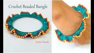 Crochet Silk Thread Beaded Bangle | Designer Bangle | New Try | No Wrapping Bangle | Innovation