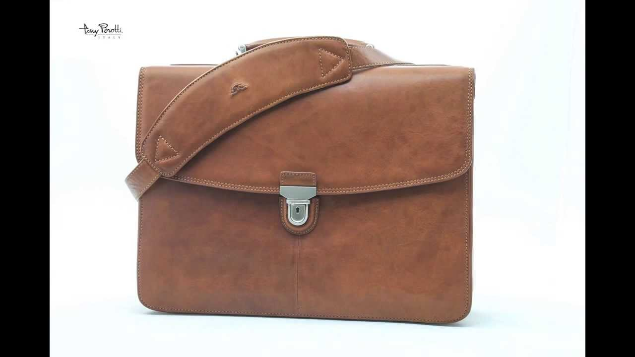 Italian Leather 17 Laptop Business Briefcase Bag for Professionals Triple Compartment Multi Organizational Pockets