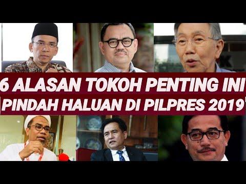 ALASAN 6 TOKOH PENTING PINDAH HALUAN DUKUNGAN PILPRES 2019;PRABOWO;JOKOWI;PRABOWO;MA'RUF AMIN;SANDIA