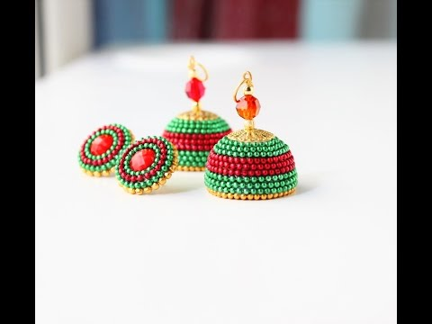 How to make Quilled party wear jhumka earrings/Paper quilled fancy jhumkas tutorial