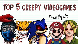 TOP 5 CREEPY VIDEOGAMES: SONIC.EXE BEN DROWNED SUPER MARIO TAILS DOLL MORTAL KOMBAT | Draw My Life