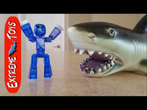 Megalodon Shark Toy Vs Stikbot.  Stop Motion Stikbot With Shark Toy.