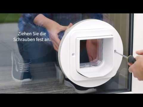 Mikrochip Katzenklappe, DualScan Mikrochip Katzenklappe - Installation in Glas