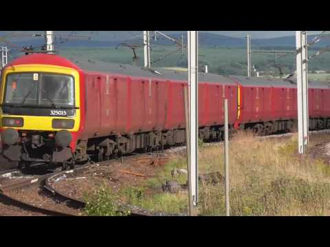 2 Royal Mail Train 325's pass Carstairs