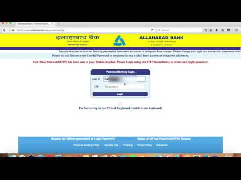 ALLAHABAD BANK ACCOUNT ONLINE BANKING ACTIVATION AND FORGOT PASSWORD-HINDI