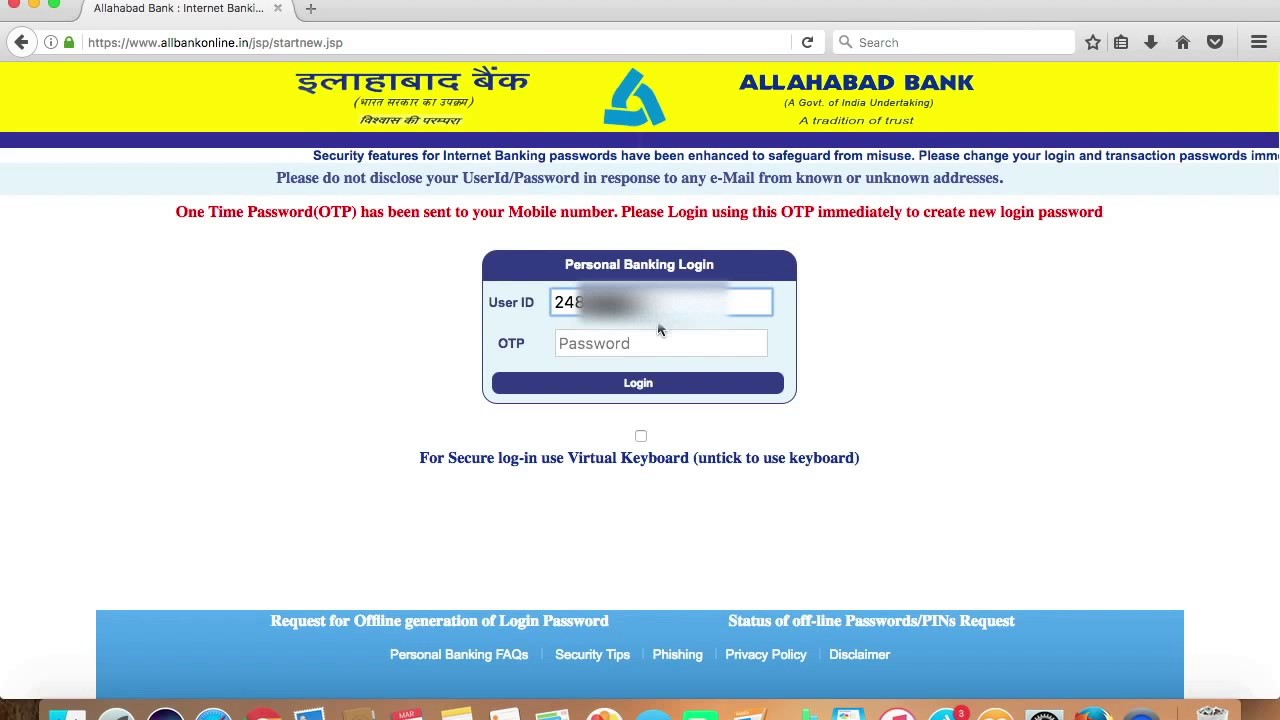 allahabad bank online registration form