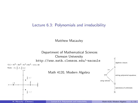 Visual Group Theory, Lecture 6.3: Polynomials and irreducibi