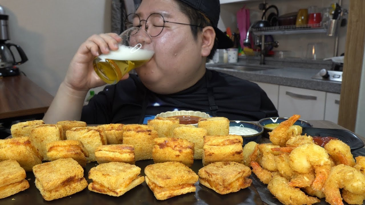 Sub 혼술최고 겉바속촉 멘보샤 새우토스트 코코넛쉬림프 먹방 Crispy Shimp Toast Mian Bao Xia Coconut Shrimp Mukbang