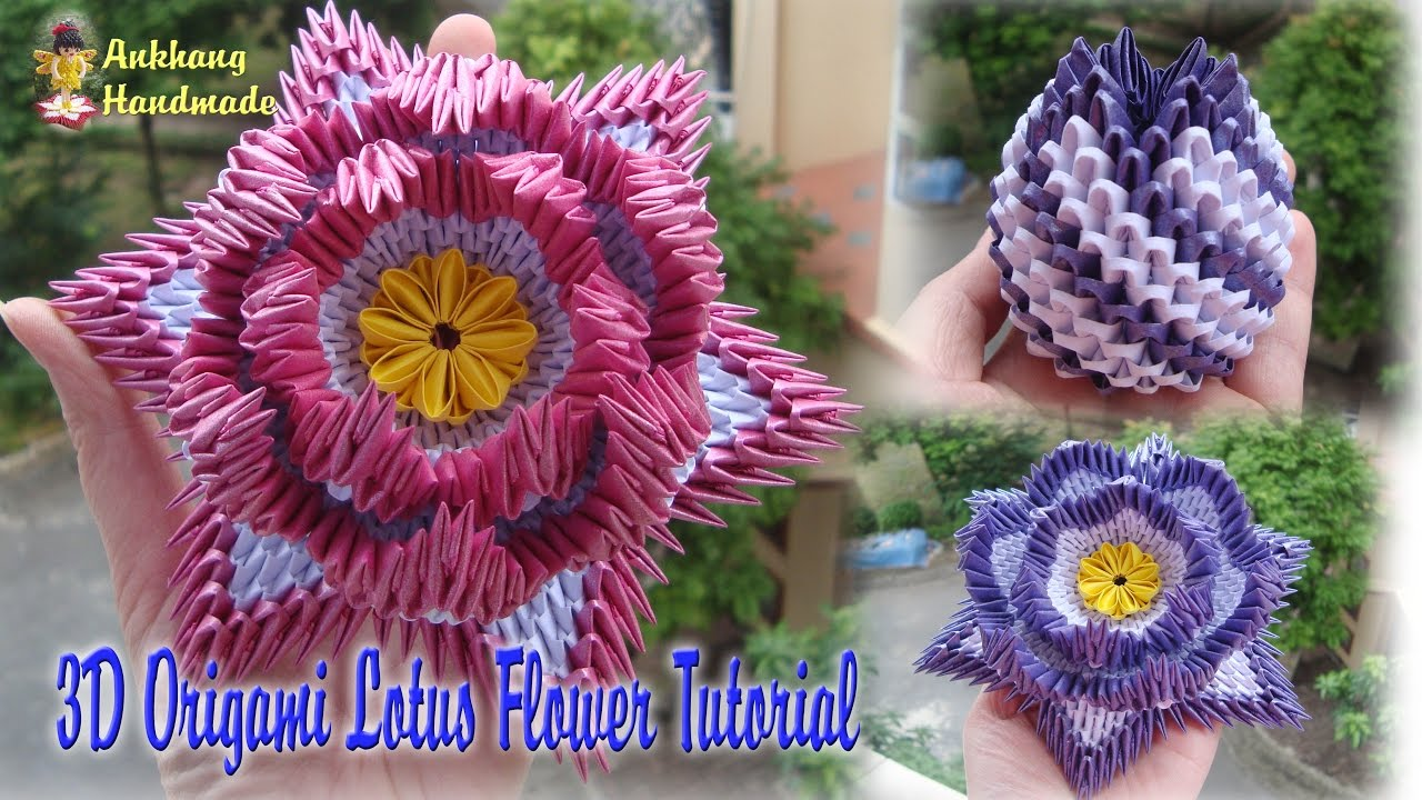 HOW TO MAKE 3D ORIGAMI LOTUS FLOWER AND BUD