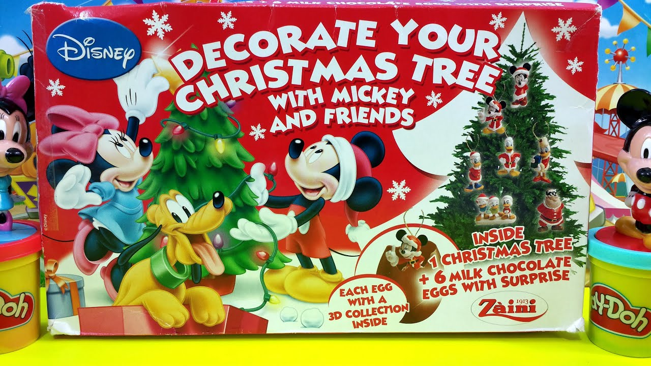 chocolate surprise eggs decorate your christmas tree with mickey mouse friends by disney zaini youtube