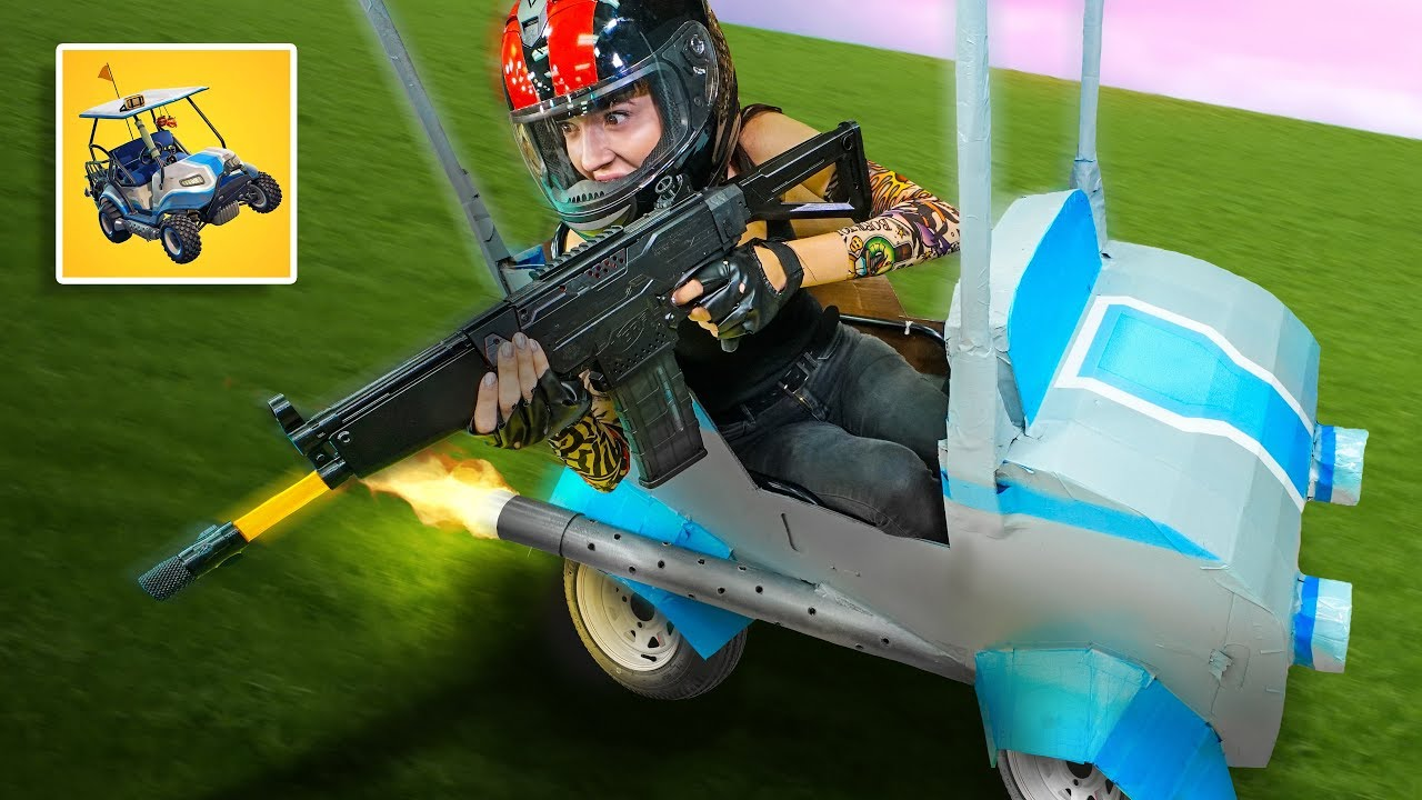 nerf-fortnite-atk-golf-cart-in-real-life-challenge