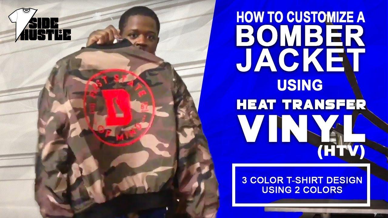 How To Customize a Bomber Jacket Using Heat Transfer Vinyl (HTV) [Heat  Press Business Ideas]