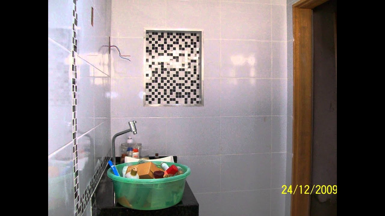 acabamento banheiro nicho e fachada de pastilha OSMAR  YouTube # Acabamento Nicho Box Banheiro