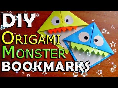 DIY Origami MONSTER Bookmark. How To Make Paper Corner Bookmarks. Easy Tutorial For Children. Crafts