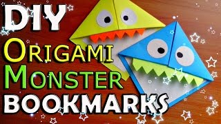 DIY Origami MONSTER Bookmark. How To Make Paper Corner Bookmarks. Easy Tutorial For Children. Crafts