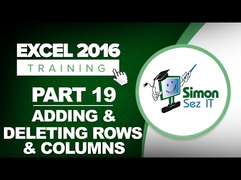 Excel 2016 for Beginners Part 19: How to Delete and Add Rows and Columns