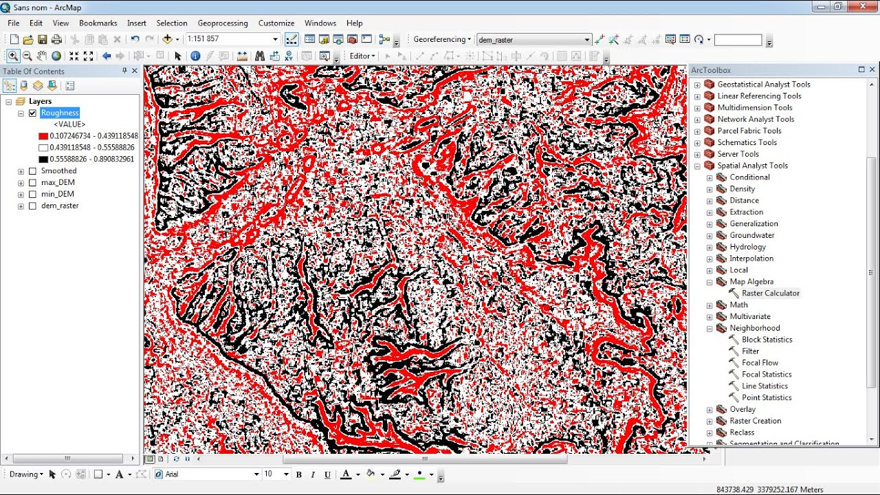 Terrain Roughness from ASTER_DEM ArcGis