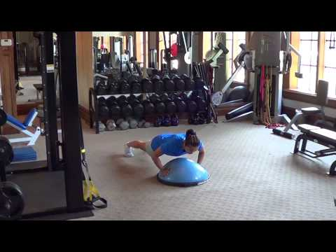 Golf Exercises – Push Ups on TRX Trainer and Bosu Ball