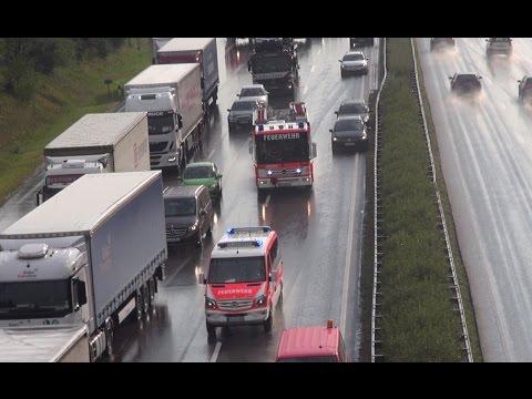 [VU AUTOBAHN 4] ELW + HLF US-Signal u. Durchsage + RW BF Erfurt + HLF FF EF-Dittelstedt + Polizei