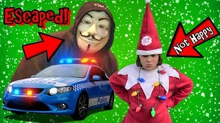 ESCAPED MYSTERY MAN RUINS CHRISTMAS ELF SURPRISE! COP KIDS RESCUE ELF ON THE SHELF!