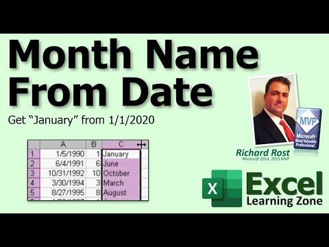 Microsoft Excel: Get Month Name From Date (i e
