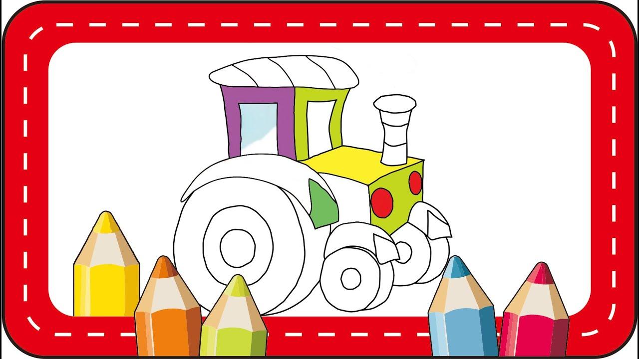 Menggambar dan Mewarnai mobil Traktor PAUD Anak TK SD | Drawing and coloring a tractor for kids