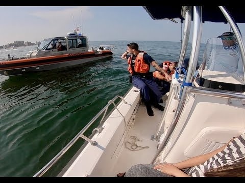 BOARDED BY THE COAST GUARD While Fishing Too Close To The Beach!