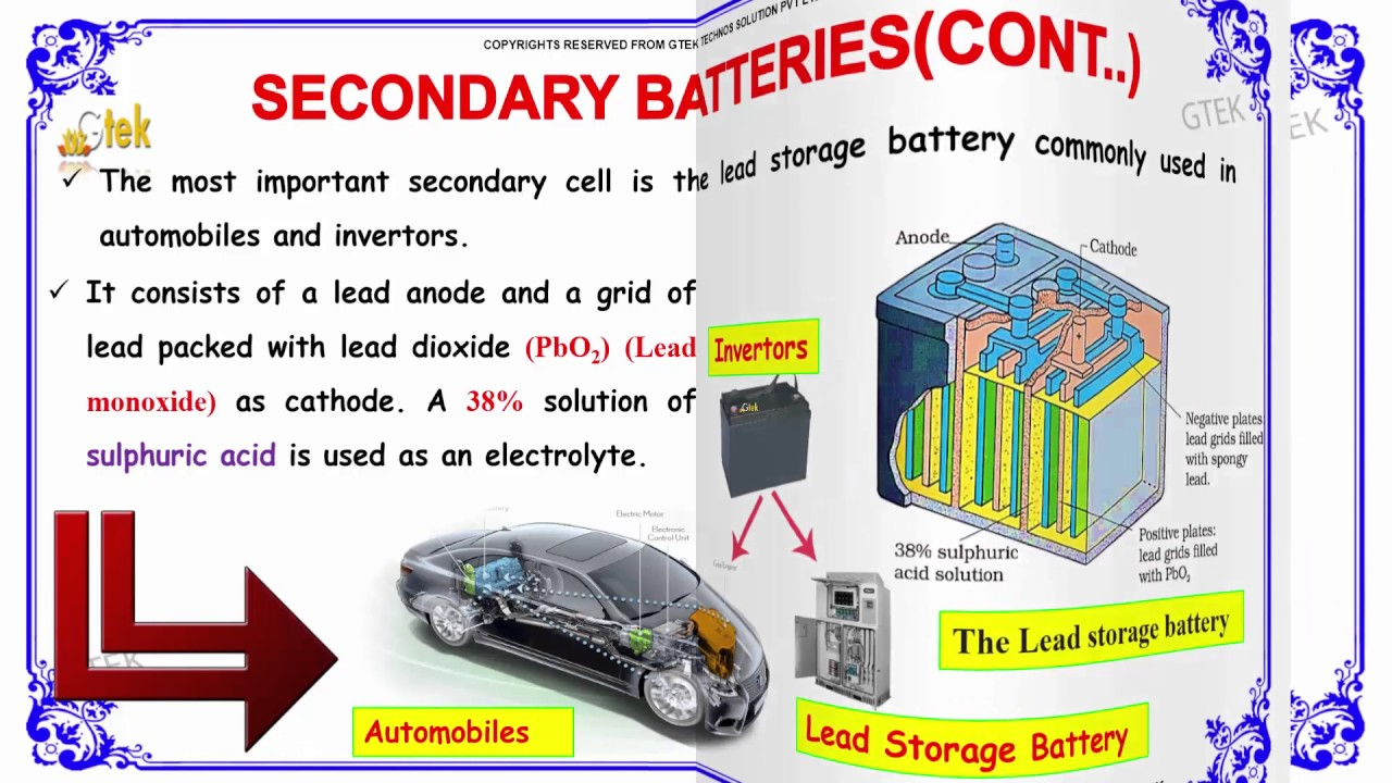 Secondary Batteries Electrochemistry 2 Cl 12 Chemistry Subject Notes Lectures Cbse