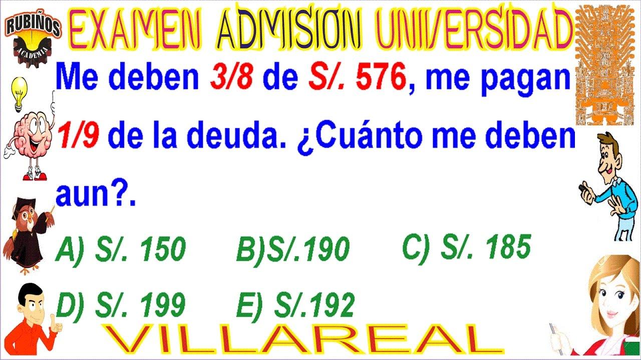 Examen de admision villarreal 2019
