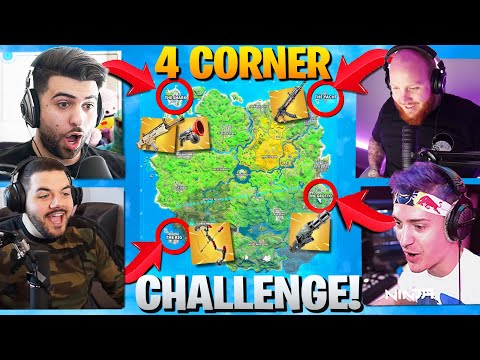 THE 4 CORNER ALL MYTHIC CHALLENGE! Ft. Ninja, Tim, Courage (Fortnite Battle Royale Season 2)