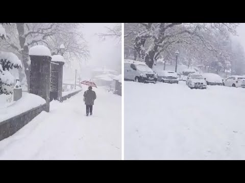 Snow In Greece After Record Low Temperatures