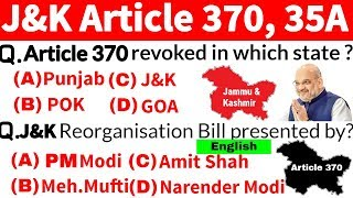 Article 370 and 35A questions | Article 370, 35A questions in english | jammu kashmir gk | J&K 370
