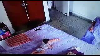 Cute Baby falling off the bed for mobile I Baby falling video I Infant Falling from bed