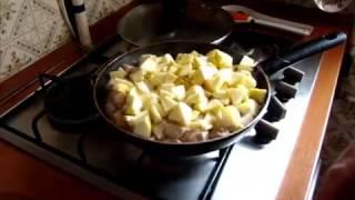 Кухня. Курица или индейка, тушеная с яблоками.