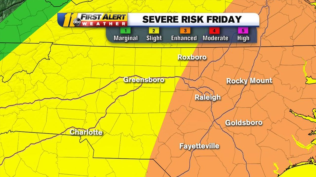 NC weather: Raleigh, Durham under enhanced risk for severe weather on Friday