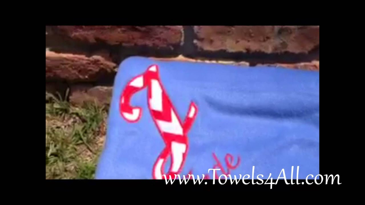 Fleece Blanket with Fabric Applique Big Red and White Chevron Letter and Name