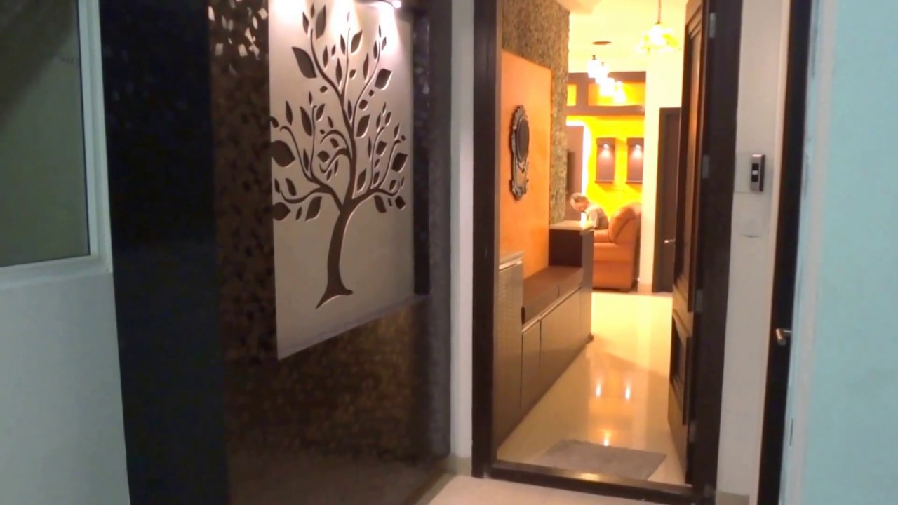 Foyer area and living room designs youtube for Foyer designs for apartments india