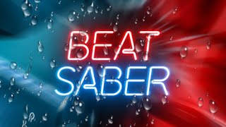Rockefeller Street in Beat Saber but it's raining and there's a book on my head to shield my Quest