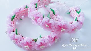 DIY Handcrafted organza flower hairband🌺🌺/手作/MK:Lily's Handcraft House