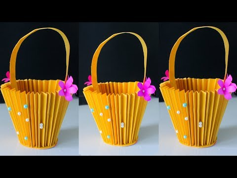 Accordion Paper Basket Making | Paper Bucket in DIY Crafts | New Paper Crafts