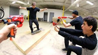Skate While Getting NERF ATTACKED!