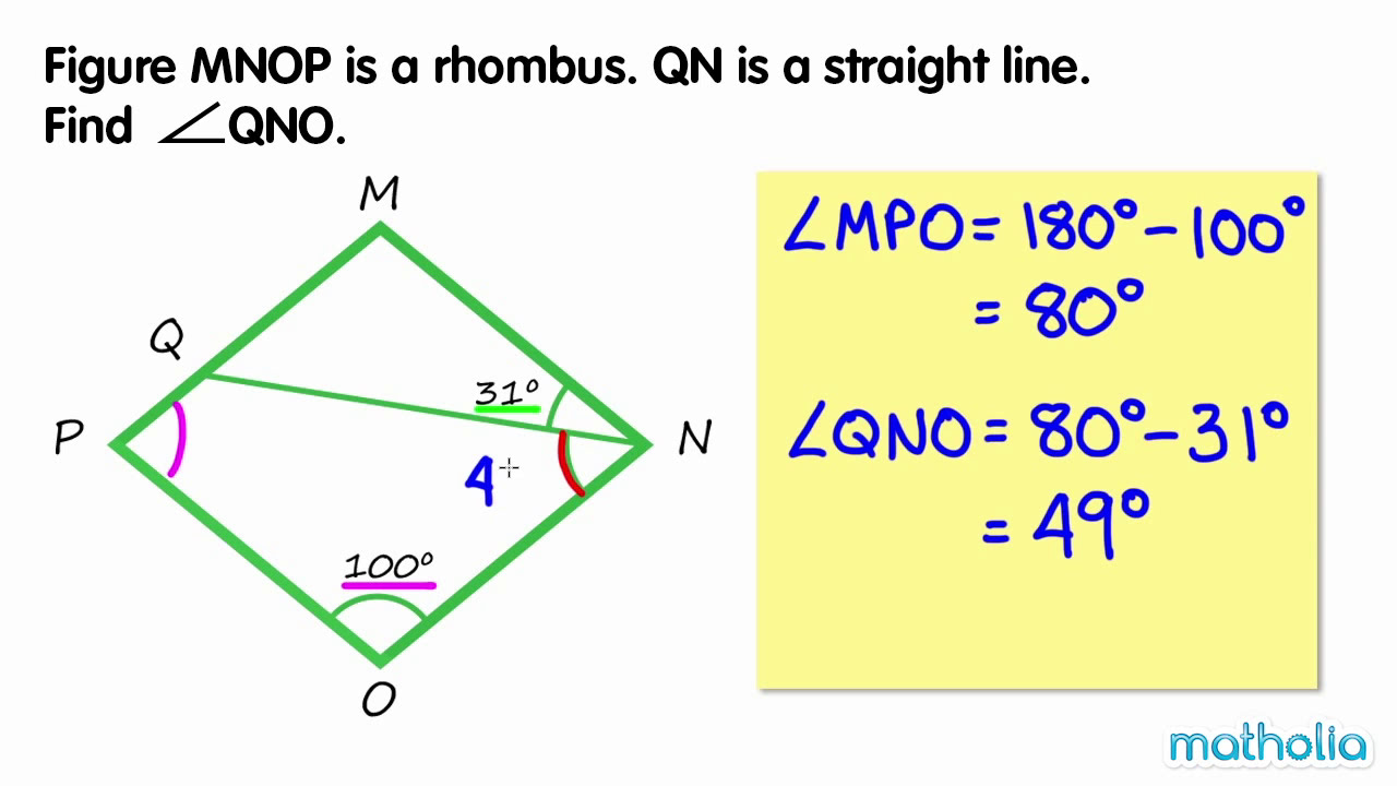 Finding Unknown Angles In A Rhombus