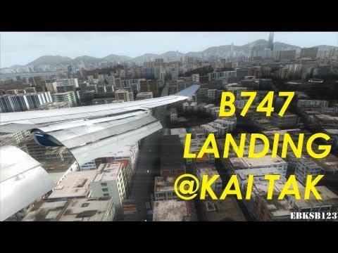 FSX HD 1080p - Boeing 747 landing Hongkong Kai Tak - as REAL as it gets!!!