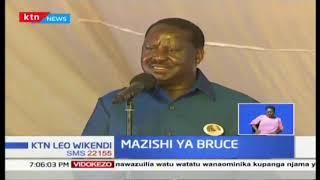 Rais Uhuru Kenyatta na Raila Odinga wamejumuika katika hafla ya mazishi ya Bruce Odhiambo
