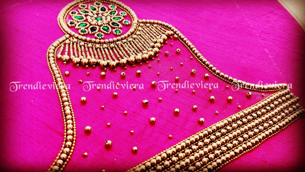 Pink vangi blouse sleeve design using normal needle